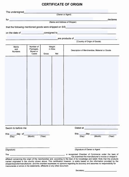 certificate of origin template 29641 - Certificate Of Origin Template