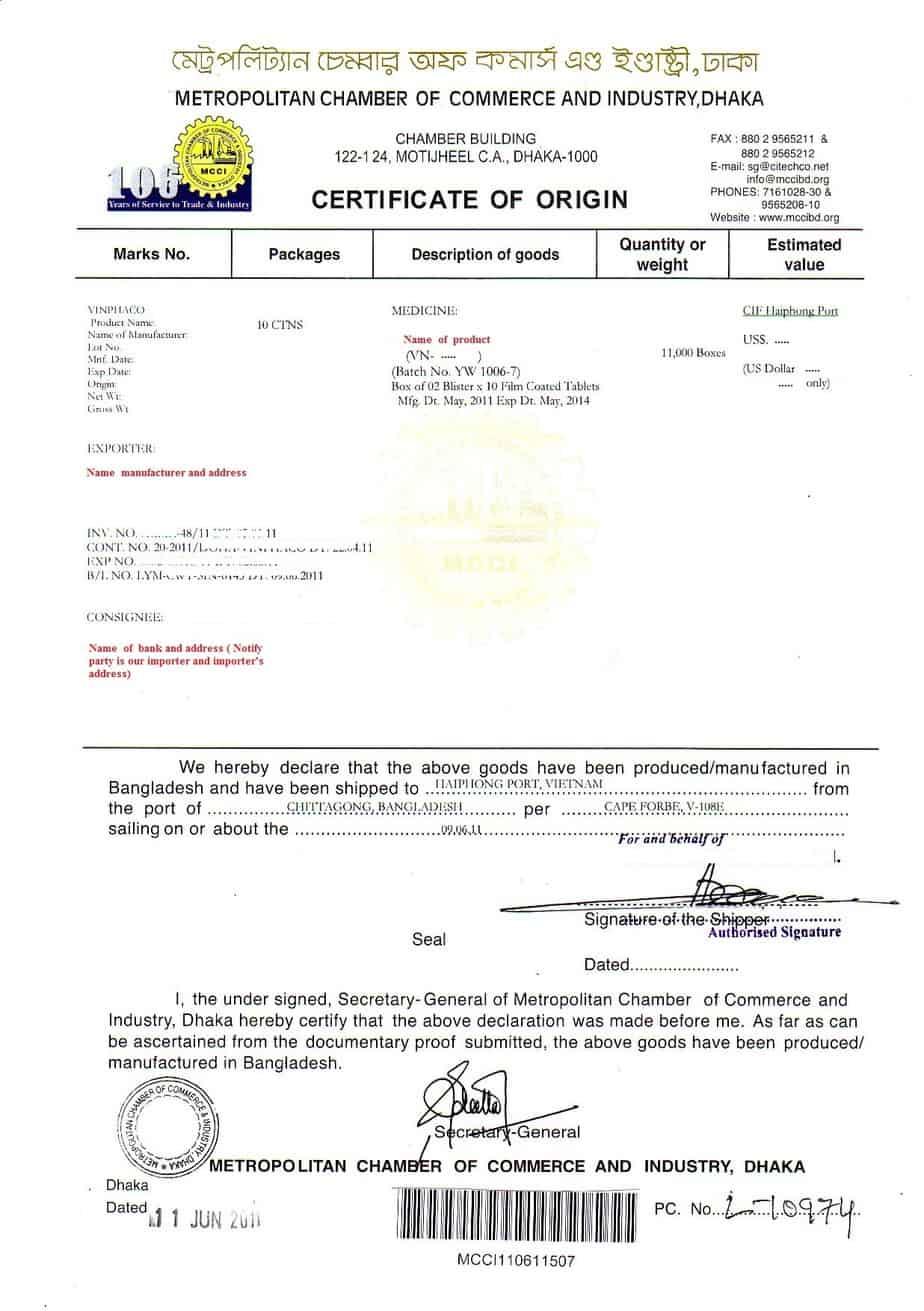 Certificate of Origin example 24.9641