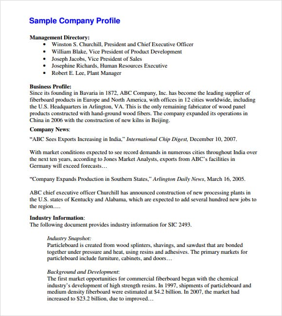 Company profile example 14.4641