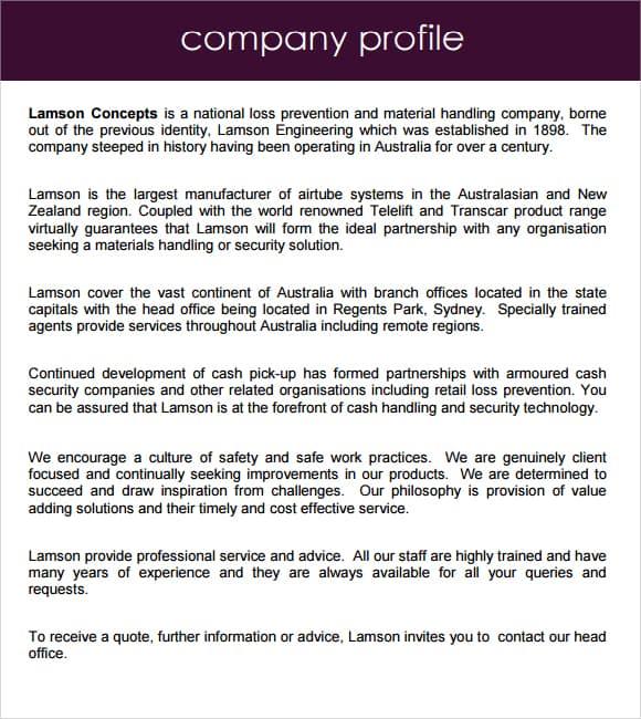 Company profile example 69741
