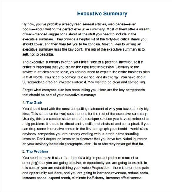 Executive Summary Template 6941