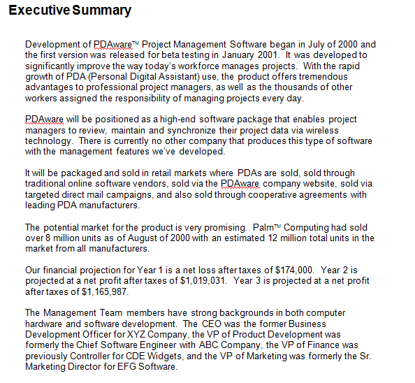 Executive Summary Template 8941