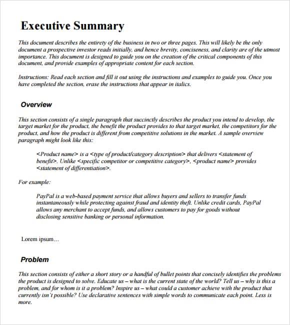 Executive Summary example 20.941