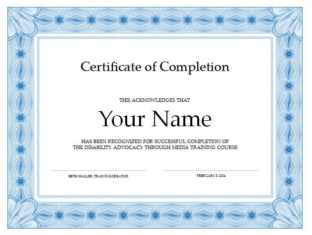Free Certificate of Completion Template 6941