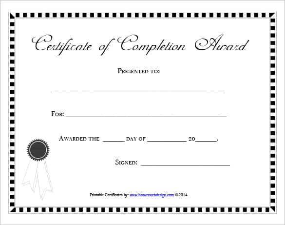 Free Certificate of Completion Template 761