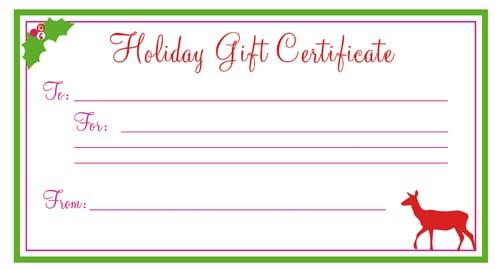 Free Gift Certificate sample 123941