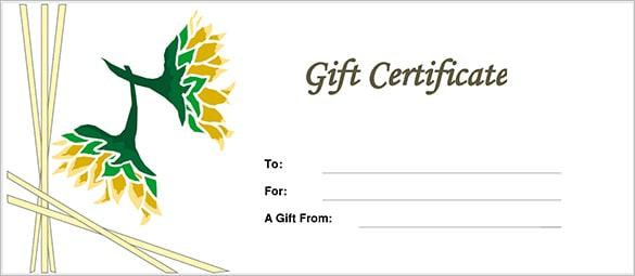 Free Gift Certificate sample 6974