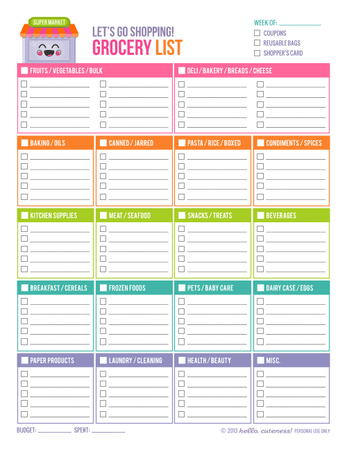Grocery list Template 5941