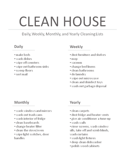 House Cleaning List example 16.9641