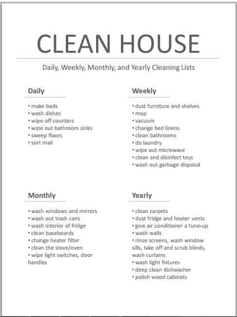 37+ Free House Cleaning List Templates in Word Excel PDF