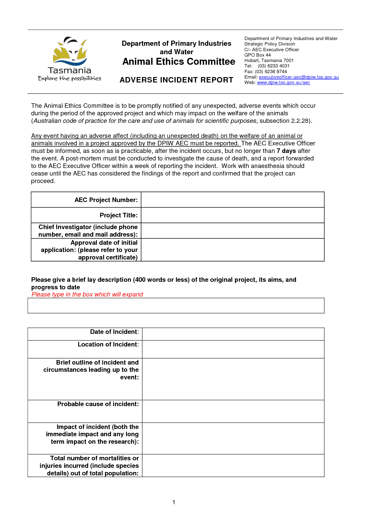 Incident Report sample 13.4