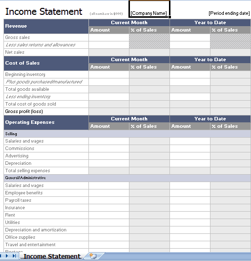 Income Statement Template 2941