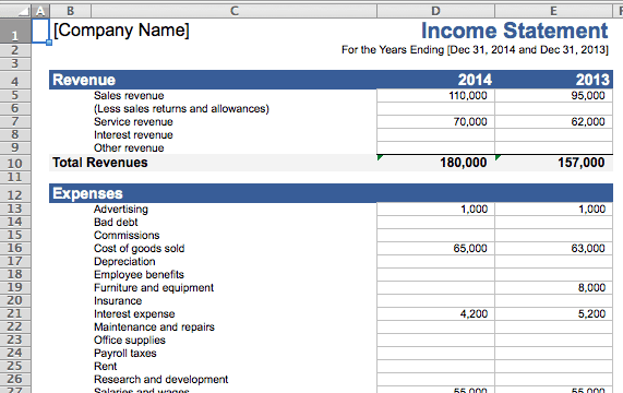 Income Statement sample 59741
