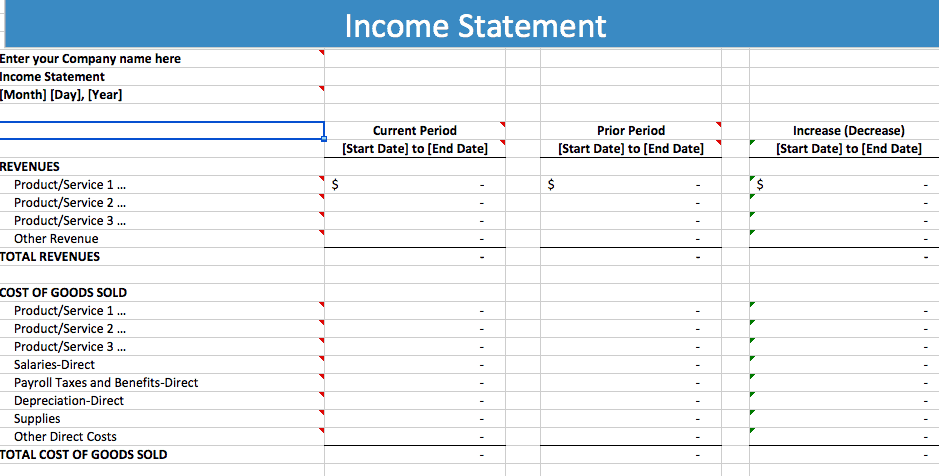 Word Excel Templates  Income Statement Template Word