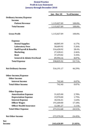 Profit and Loss Statement sample 3461