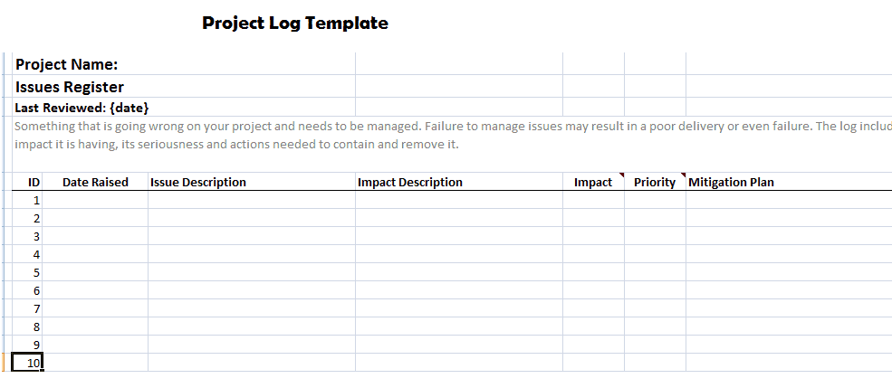 23 free project log templates in word excel pdf for Project management issues log template