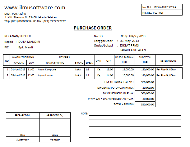 Purchase Order sample 13.461
