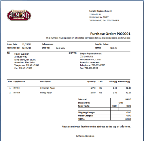 Purchase Order sample 16.941