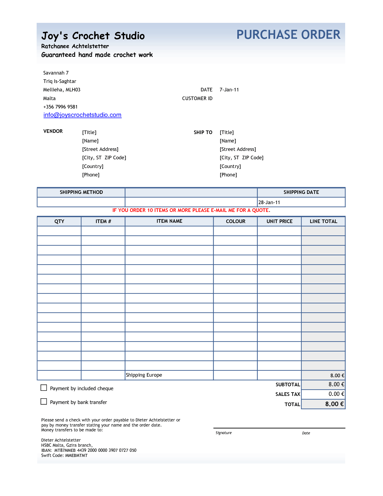 Purchase Order sample 20.13641