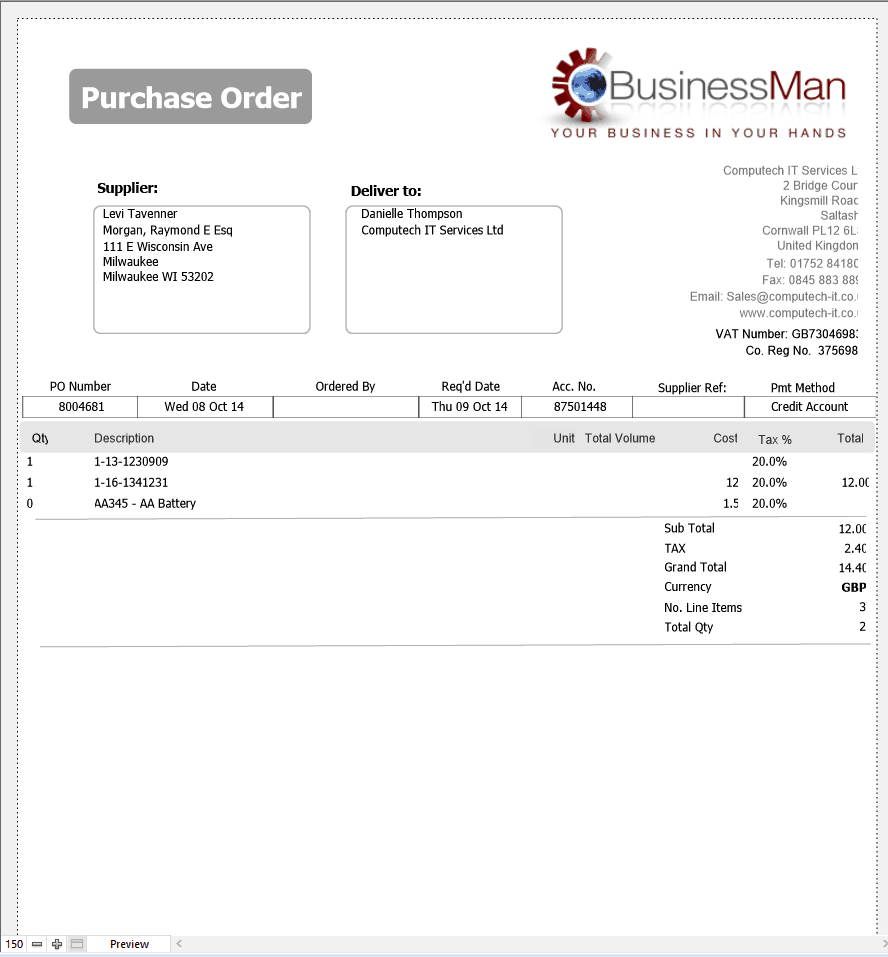 Purchase Order sample 24.641