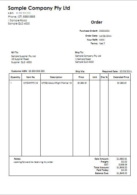 Purchase Order sample 26.1211