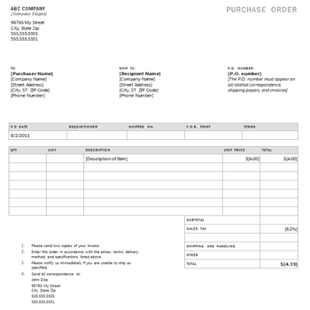 Purchase Order sample 29.64