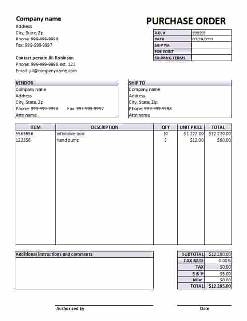 Purchase Order sample 6941