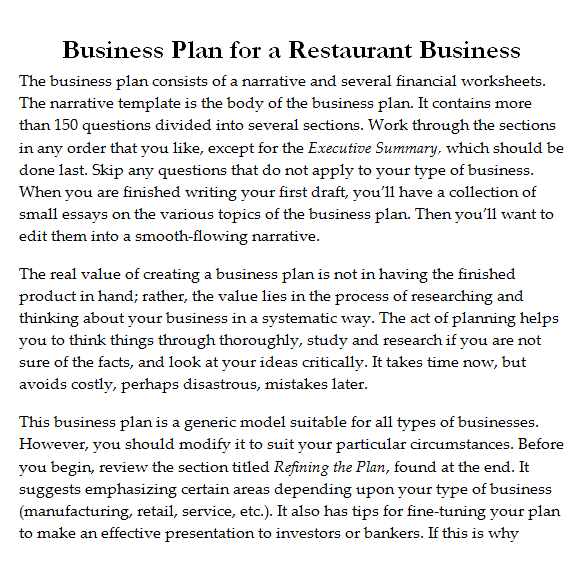Free Restaurant Business Plan Templates In Word Excel PDF - Free restaurant business plan template pdf