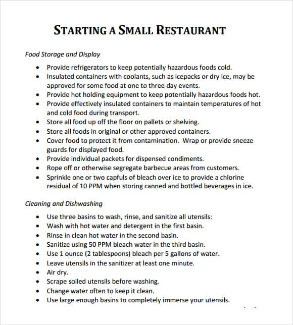 sample business plan for starting a restaurant