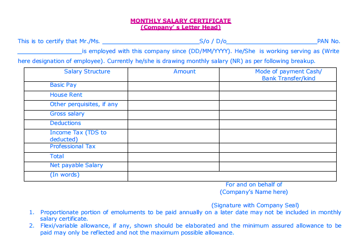 Salary Certificate Template 4974