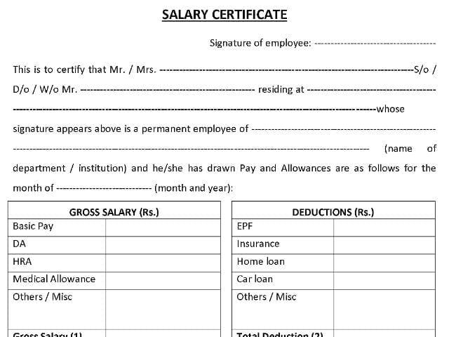 Salary Certificate sampe 141