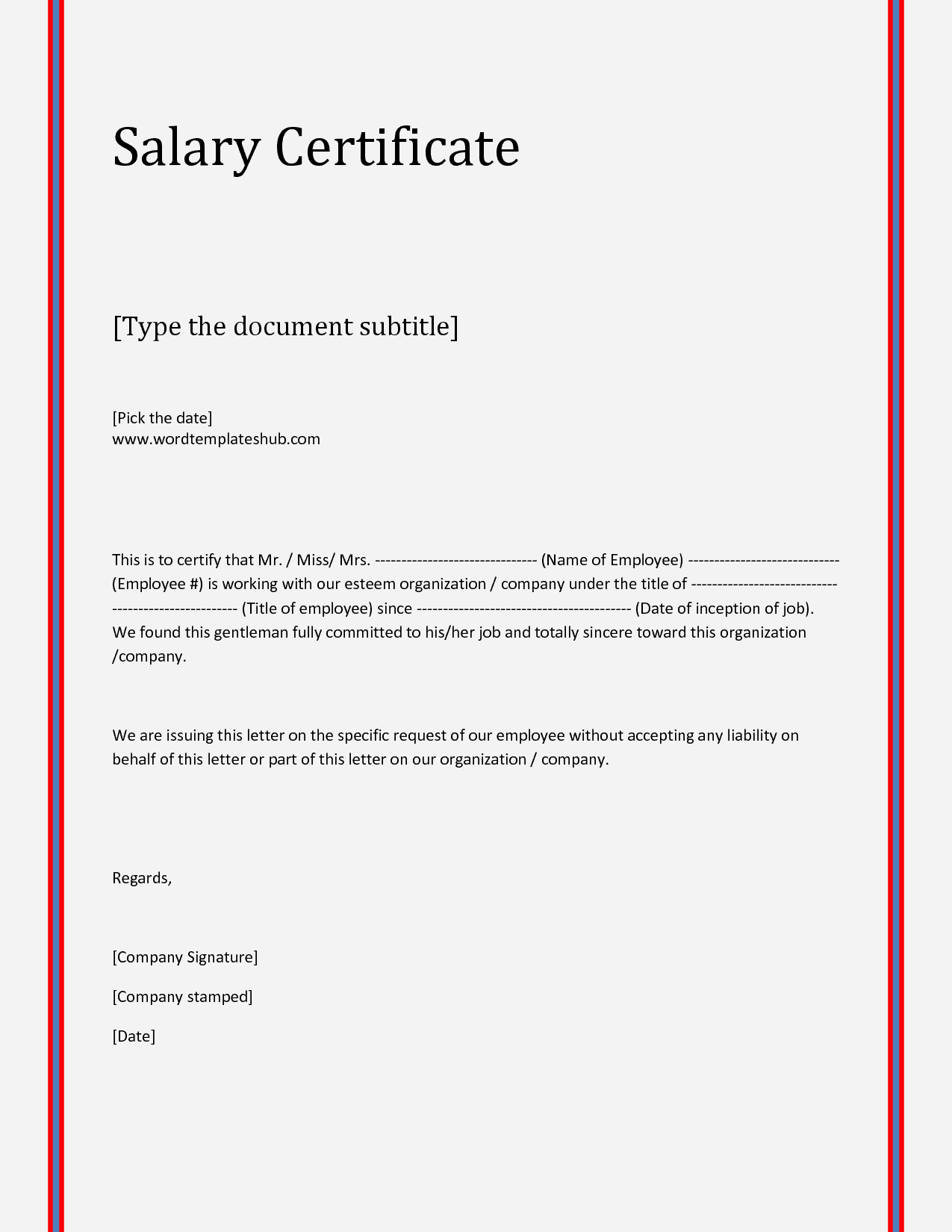 21 Free Salary Certificate Template Word Excel Formats – Sample Salary Letter