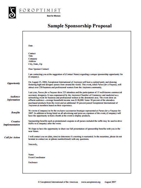 Word Excel Templates  Example Of A Sponsorship Proposal