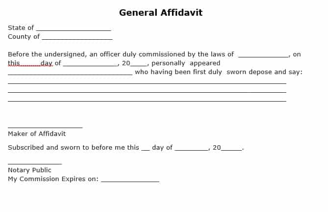 Word Excel Templates  Affidavit Of Sworn Statement