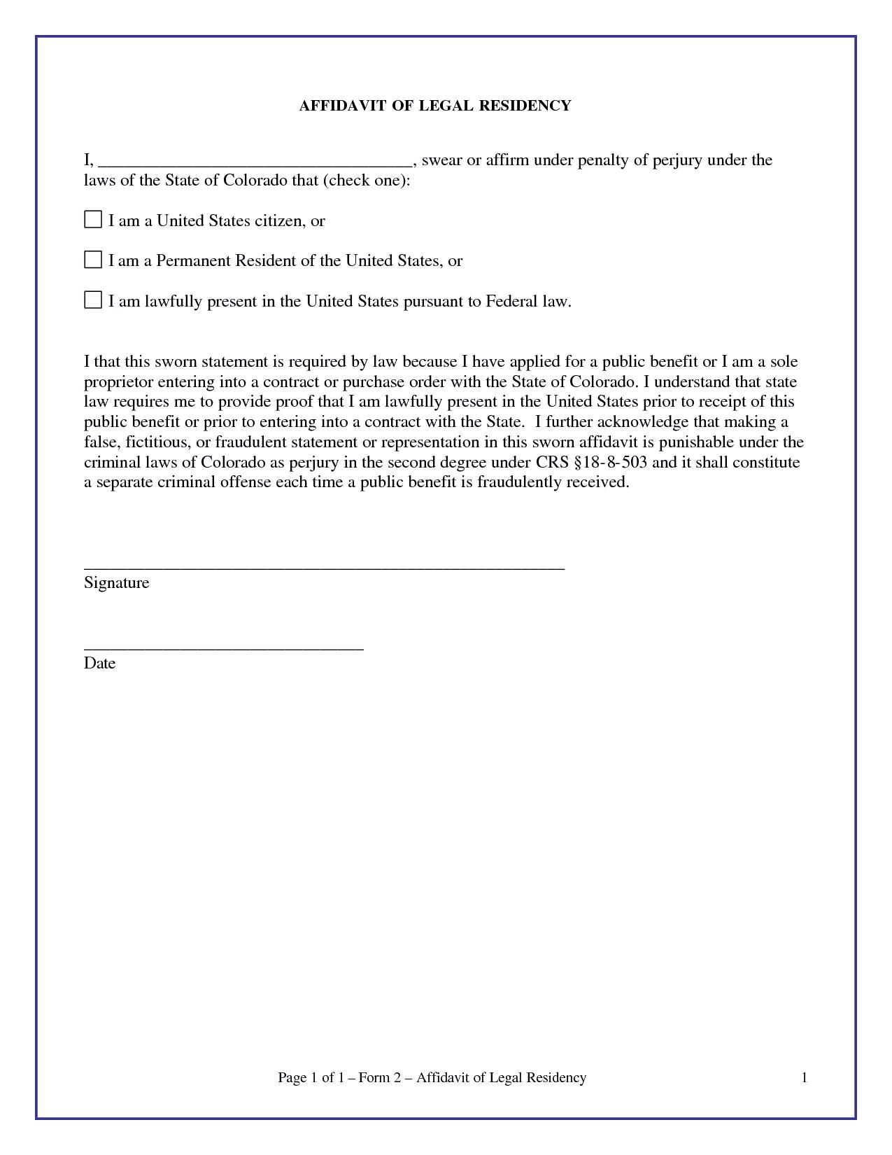 affidavit form example 5974
