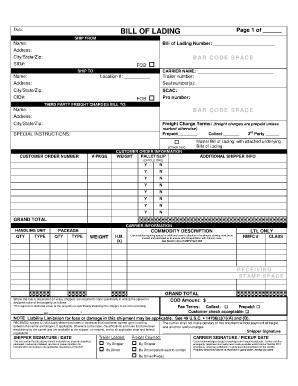 bill of lading sample 7941