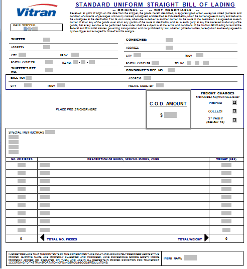 bill of lading template 2941