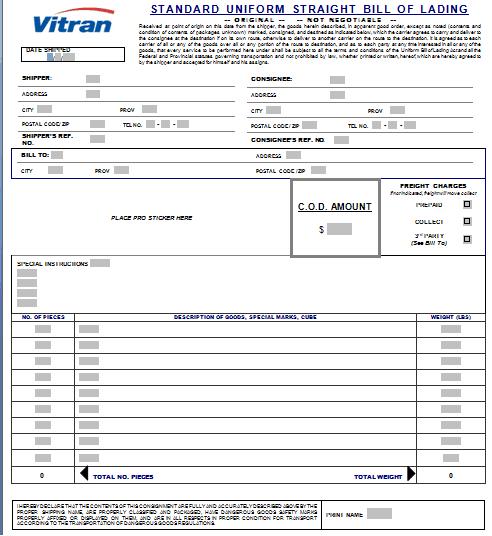 bill of lading template pdf
