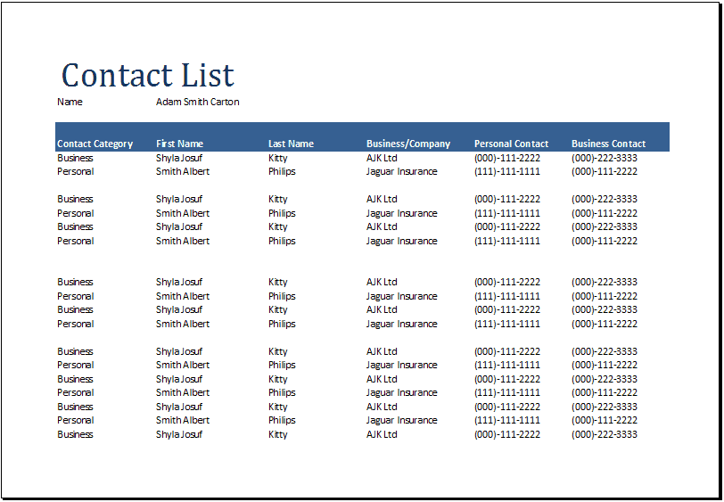 Contact List Excel Template  Point Of Contact Template