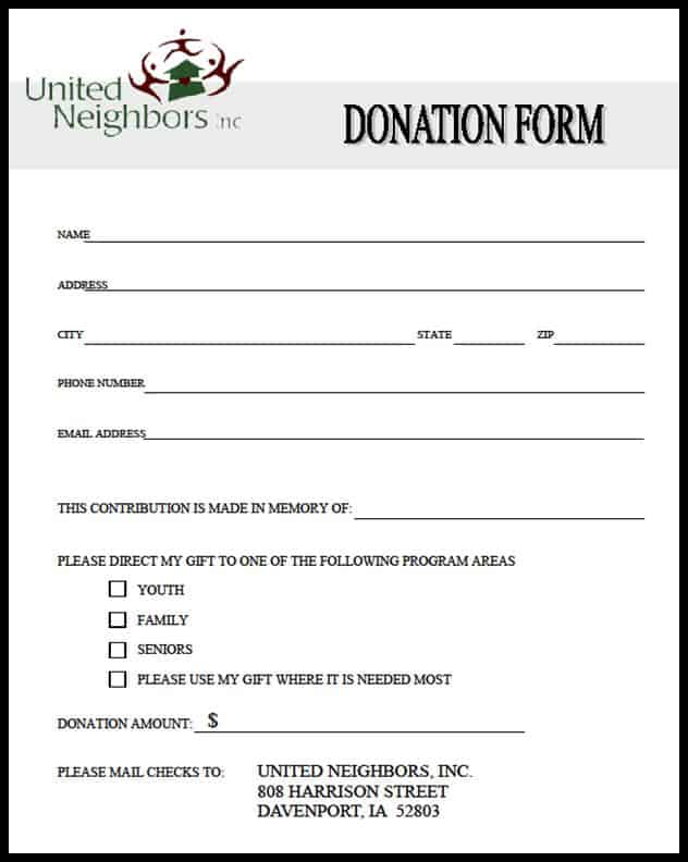 Free Donation Form Templates In Word Excel Pdf
