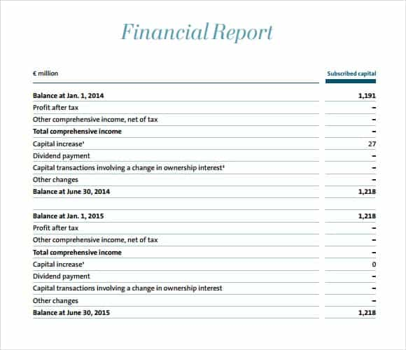 Word Excel Templates  Financial Report Template Free