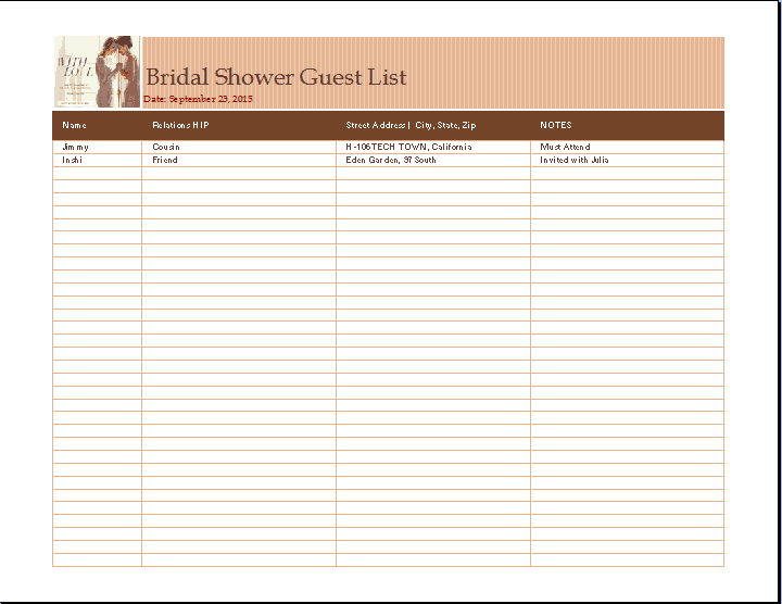 Bridal Shower List Template