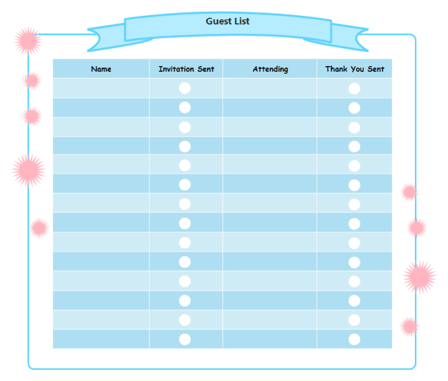 41 Free Guest List Templates Word Excel PDF Formats – Wedding Guest List Template Free