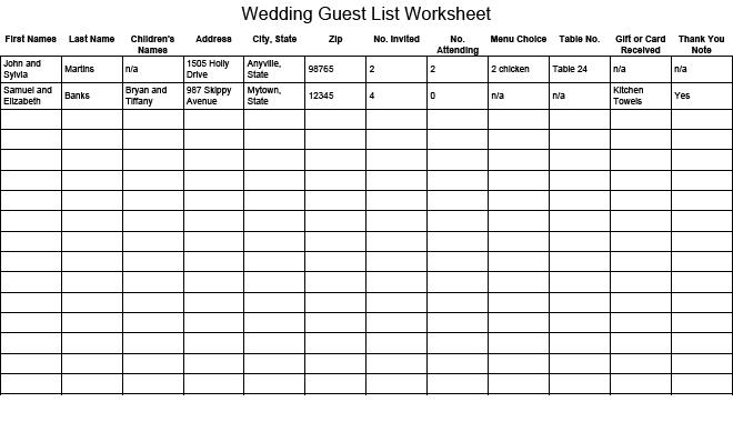 41 Free Guest List Templates - Word Excel PDF Formats