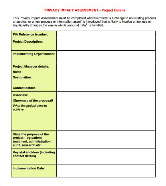 impact assessment template 58941