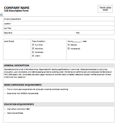 job description template 364