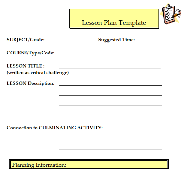 Free Lesson Plan Templates In Word Excel PDF - Lesson plan free template