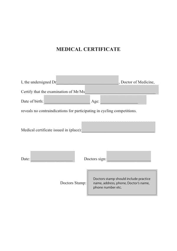 medical certificaet example 16.91