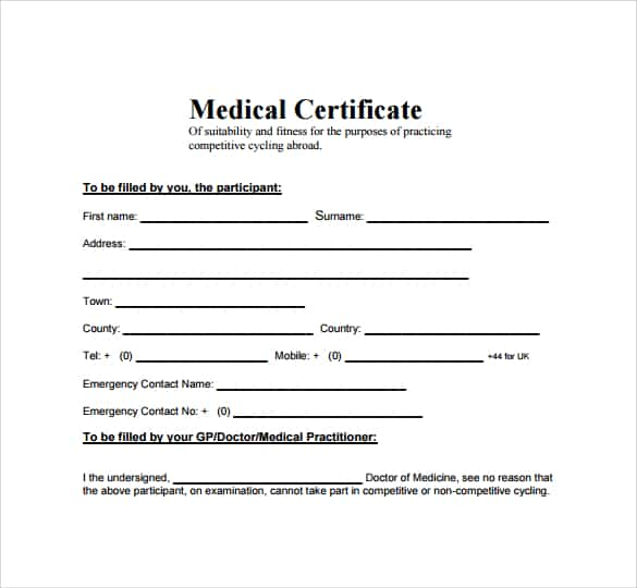 medical certificaet example 18.941
