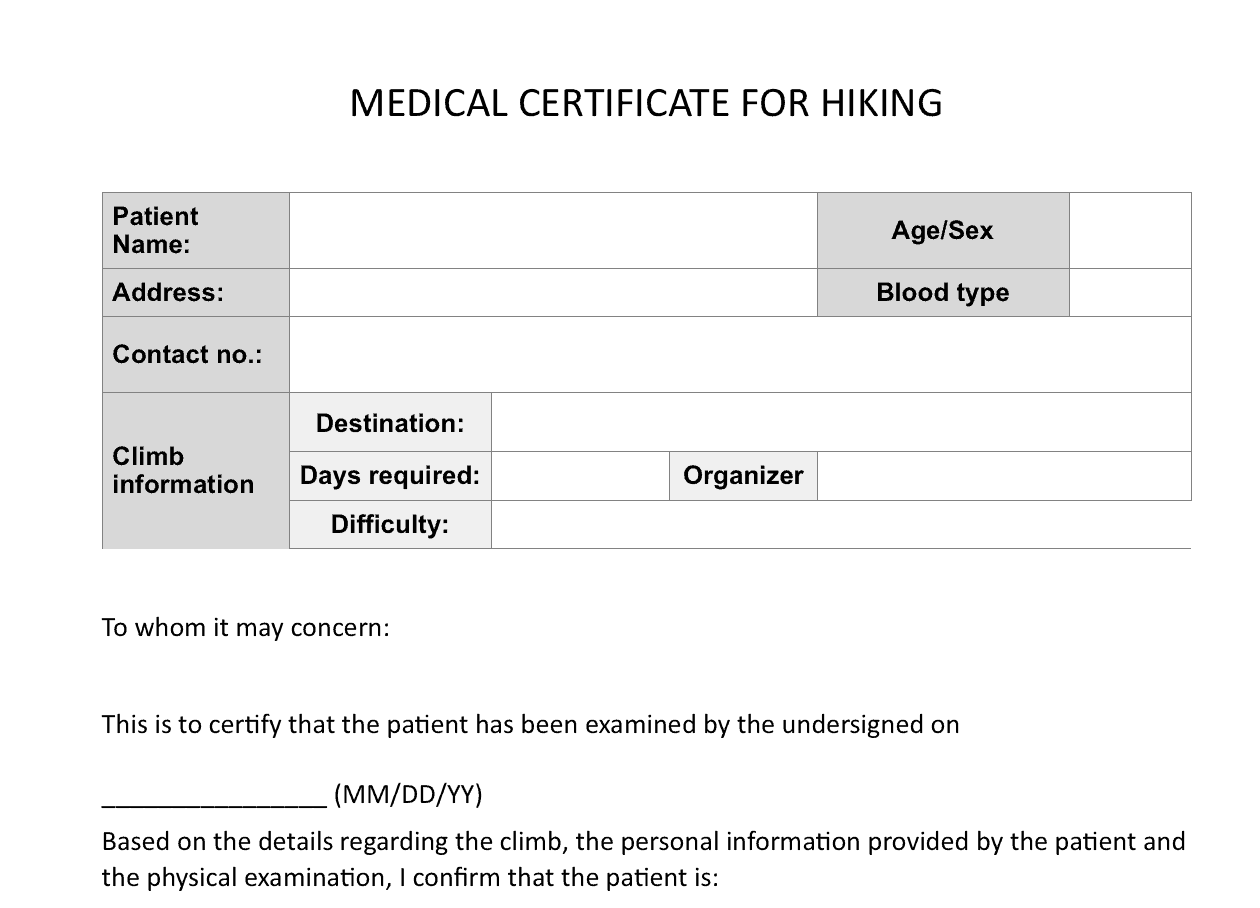 medical certificaet template 10.941